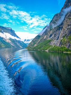 The peaceful Geiranger Fjord in Norway.