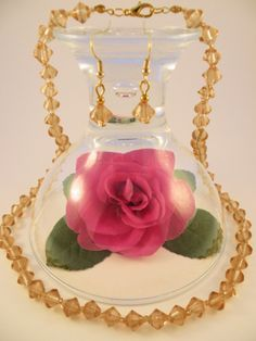 Handmade - Gold Yellow Crystal Glass Bicone Jewelry Set (Necklace + Earrings)