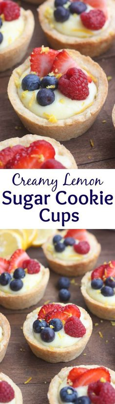 Creamy Lemon Sugar Cookie Cups - my favorite sugar cookie recipe baked ...