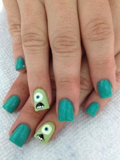 Disney Pixar Nail art with green nail polish
