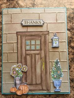 Background is the Stampin Up Brick Wall Embossing folder. The rest of the card is done with the new Stampin Up Bundle At Home with you.