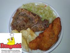 Hoje serviremos: Bisteca de boi, filé de frango a milanesa, batata doce frita, refogado de chuchu, feijão com arroz mais salada.