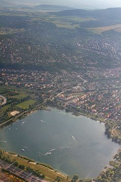 Aerial view from the Omszk lake in Budapest - Hungary
