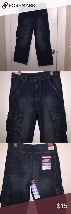 Blue cargo jeans Blue cargo jeans made by wrangler brand-new tags and all Wrangler Bottoms Jeans
