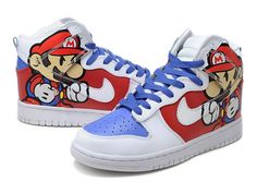 Cool High Tops Nikes Dunks Adidas Converse Cartoon Shoes Super Paper Mario  High Tops Nike Dunks Shoes - Awesome Paper Mario shoes they are! The custom  dunks ... 024f0b58ce