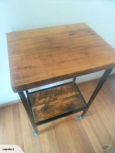 Industrial trolley with wooden top   Trade Me