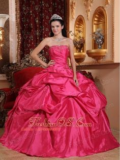 Exquisite Hot Pink Quinceanera Dress Strapless Taffeta Beading Ball Gown  http://www.fashionos.com    You'll absolutely love this flirty strapless sweetheart ball gown with romantic ruffles and embroidery.Its a dramatic ball gown dress! Turn heads in this beautiful full skirt ball gown that has ruffles and romantic rosette on the skirt. Fitted strapless bodice has spaghetti straps with beading and lace up back. Layers of satin make you feel you are fairy dancing in the flowering shrubs.
