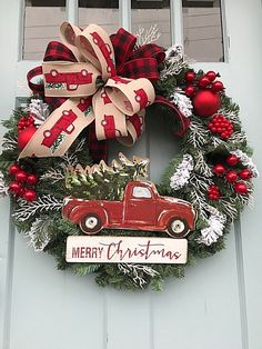 Vintage Red Truck with Buffalo Ribbon Christmas Pine Wreath for Door Christmas Red Truck, Rustic Christmas, Christmas Crafts, Christmas Ornaments, Christmas Music, Christmas Stuff, Christmas Lanterns, Christmas Quotes, Homemade Christmas
