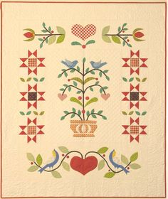 """Birds and Boughs, ~54 x 66"""", folk art quilt pattern at American Jane Quilts"""
