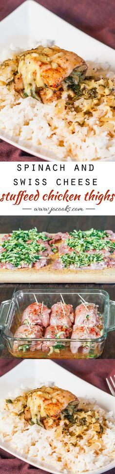 Spinach and Swiss Cheese Stuffed Chicken Thighs