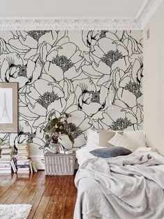 Wallpaper Accent Wall - Monochrome Floral Wallpaper Wall Mural Floral Home Décor Kids Room Design, Wall Design, Bedroom Wall, Bedroom Decor, Mural Floral, Wallpaper Wall, Discount Bedroom Furniture, Childrens Room Decor, My New Room