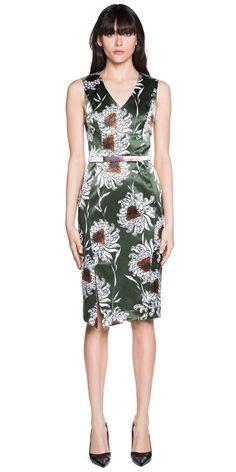 Dresses | Floral Satin V-Neck Dress