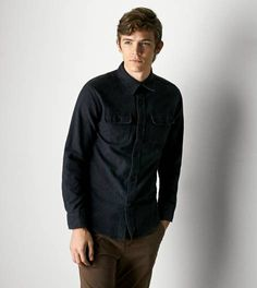 Charcoal AEO Heritage Flannel Shirt