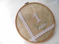 Wedding Table Number Hoop Embroidery Hand by MelindasSewingCorner