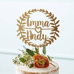 A beautiful laurel style, personalised couples wedding cake topper. A pretty personalised finishing touch to wedding cakes, featuring the happy couples names.We think our cake toppers work particularly well with birds and butterflies, pastels and golds, chevrons and ombres, macaroon palettes and forest and woodland themes. Our cake toppers are perfect for all occasions and come in a huge range of size, material & colour combinations suitable for all styles & cake sizes. If your not su...
