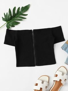 Zipper Up Ribbed Top -SheIn(Sheinside) Cute Swag Outfits, Crop Top Outfits, Cute Outfits For Kids, Edgy Outfits, Pretty Outfits, Girls Fashion Clothes, Teen Fashion Outfits, Girl Fashion, Girl Outfits