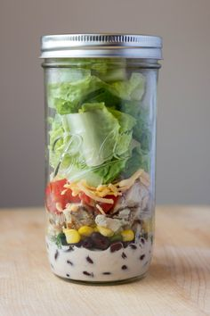 Bbq Ranch Chicken Salads In Mason Jars by Feastie