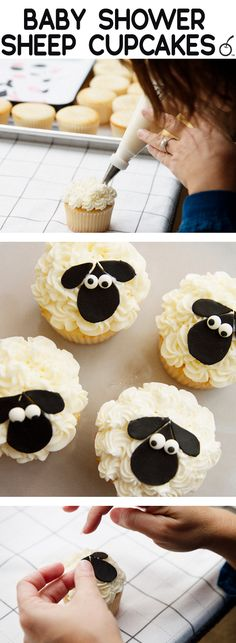 Easy and adorable sheep theme baby shower cupcakes Lamb Cupcakes, Sheep Cupcakes, Sheep Cake, Cupcakes For Boys, Birthday Cupcakes, Cupcake Cakes, Eid Cupcakes, Baby Boy Cupcakes, Ladybug Cupcakes