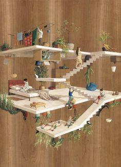 İspanyol sanatçı, sürreal çalışmalarıyla tanınan M. C. Escher'in dünyasından ilham alarak yaşam alanları kurguluyor.