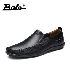 BOLE Big Size 36~47 High Quality Genuine Leather Men Shoes Soft Moccasins Loafers Superstar Fashion Men Flat Comfy Driving Shoes