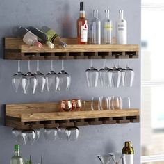 Bernardo Rustic Luxe Tiered Wall Mounted Wine Glass Rack - Home Professional Decoration Wine Glass Shelf, Wine Shelves, Bar Shelves, Wine Glass Holder, Glass Shelves, Shelving Ideas, Hanging Wine Glass Rack, Hanging Wine Glasses, Wine Rack Shelf