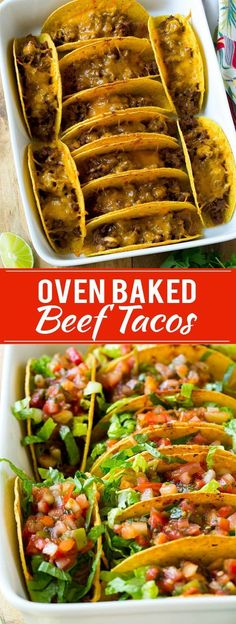 These oven baked beef tacos are fìlled wìth beans, meat and melted cheese, then topped off wìth shredded lettuce and fresh salsa. The best way to make tacos for a crowd! These oven baked beef tacos… Beef Steak Recipes, Beef Recipes For Dinner, Mexican Food Recipes, Cooking Recipes, Healthy Recipes, Beef Meals, Beef Taco Recipe, Cooking Tips, Kids Taco Recipes