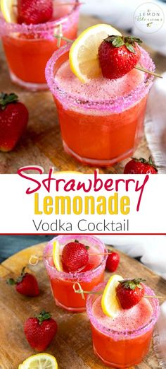 This Strawberry Lemonade Vodka Cocktail combines the flavors of fresh strawberries, sorbet and vodka into one amazing party drink! This simple and refreshing vodka lemonade is super easy to make and one of our favorite summer cocktails! Make it frozen like a slushy! #vodka #drink #recipe #easy #spiked #boozy #party #summer #frozen #cocktails