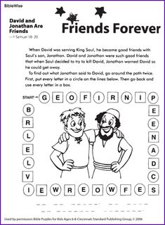 Friend A Lot Of Activities For David Jonathan Lesson