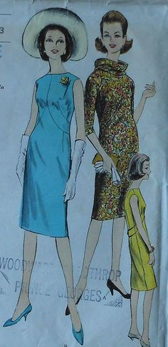 Vintage 60s Vogue Slim One Piece Dress with Scarf Sewing Pattern Size 10 5915. $18.00, via Etsy.