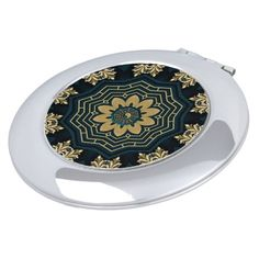 Shop Chic Gold & Green Asian Style Round Compact Mirror created by BlueRose_Design. Compact Mirror, Asian Style, Heart Shapes, Mirrors, Vibrant Colors, Luxury, Chic, Metal, Green