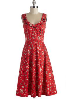 Argh You Coming? Dress. You're ready to sail the high seas in this printed frock! #red #modcloth