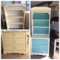 Dresser and bookcase I painted with Annie Sloan chalk paint and made rope drawer pulls.