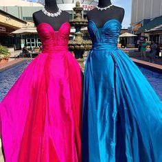 Strapless Long Prom Dress 2017, Hot Pink Long Prom Dress, Blue Prom Dress