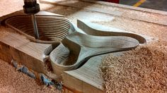 This is a decorative bowl being made on a CNC router.
