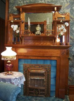 This was a project that we started in October 2008 when Donnie was working on the porch and I was busy waiting for him to sign off on his wo. Vintage Fireplace, Faux Fireplace, Fireplace Ideas, Fireplaces, Victorian House Interiors, Victorian Homes, Mantle Decorating, Antiquities, Rental Property