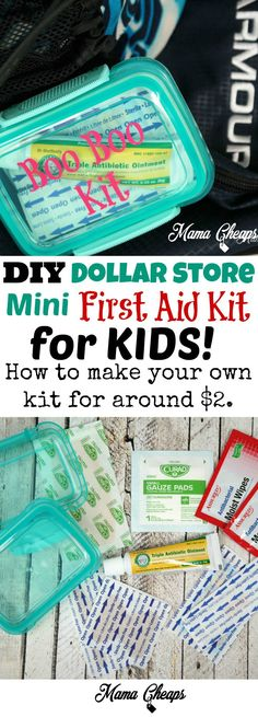 Dollar Store Mini First Aid Kit for Kids DIY Dollar Store Mini First Aid Kit for Kids! Perfect for your kid's sports bag!DIY Dollar Store Mini First Aid Kit for Kids! Perfect for your kid's sports bag!