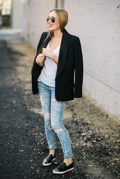 11 Reasons to Buy a Tuxedo Blazer Immediately Glamour waysify Blazers For Women, Jackets For Women, Clothes For Women, Black Tuxedo, Black Tie, All Black Looks, Tuxedo Jacket, Blazer Outfits, Comfortable Outfits