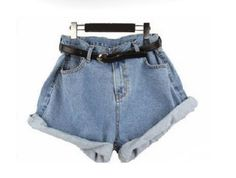 Show off your stylistic skill and wear this geometric loose high waist denim shorts.The shorts waist is big and loose fit, use the belt to adjust it until you get the style you want or make the turn u