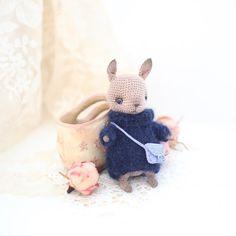 Miniature crochet cocoa bunny 41 inches amigurumi bunny