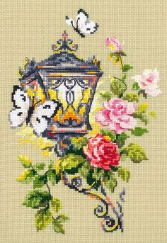"New Unopened Modern Cross Stitch Embroidery Kit by Russian Manufacture ""Magic Needle"" Flower Lamp, Spring, Butterfly, Gift for her Butterfly Cross Stitch, Cross Stitch Bird, Cross Stitch Borders, Counted Cross Stitch Kits, Cross Stitch Flowers, Modern Cross Stitch, Cross Stitch Designs, Cross Stitch Patterns, Cross Stitch Embroidery"