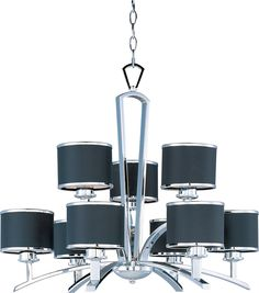 Salon 9-Light Chandelier shown in Polished Chrome by Maxim