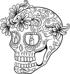 Wonderful sugar skull to color in with your fabric markers or paints. Skull Coloring Pages, Printable Adult Coloring Pages, Cool Coloring Pages, Coloring Pages To Print, Mandala Coloring, Coloring Books, Mandala Art, Mandalas Drawing, Sugar Skull Tattoos