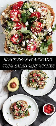 Healthy Avocado Tuna Salad Sandwiches with fiber & protein rich black beans…