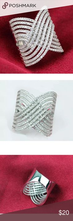 White Sapphire Wide Sterling Silver Band Stamped 925 CZ White Sapphire Wide Band / Ring. Jewelry Rings