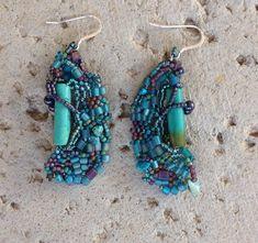 Turquoise earrings in free form peyote by JudesArt on Etsy, $44.00 SOLD