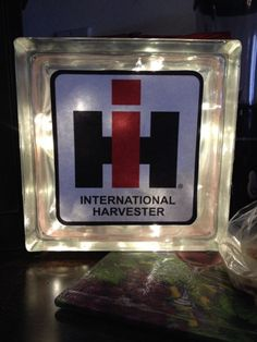 Items similar to International Harvester Glass Light Block on Etsy Glass Block Crafts, Glass Blocks, Cute Crafts, Crafts To Make, Craft Gifts, Diy Gifts, Tractor Crafts, Hunting Wedding, Case Tractors