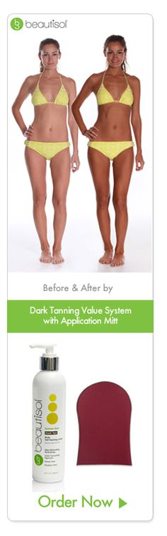 before and after dark tanning system with application mitt