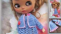 Crocheted dress and cotton-yarn cotton knitted on the Blythe
