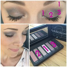 Eyeshadow by numbers, as easy as 1,2,3!   Simple silvery smokey eye using the Addiction Palette 3 from Younique! Get yours! www.emmaslovelylashes.com  #smokeyeye