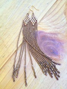 Bronze Bead Earrings, Seed Bead Fringe Earrings in Bronze with Gold Tones, Tribal Jewelry, One of a Kind